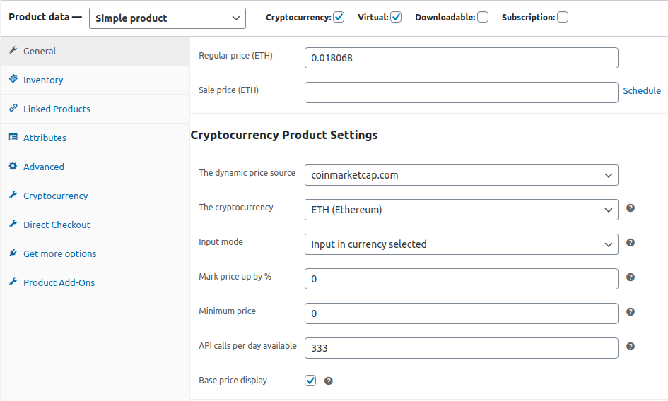 Token product configuration example
