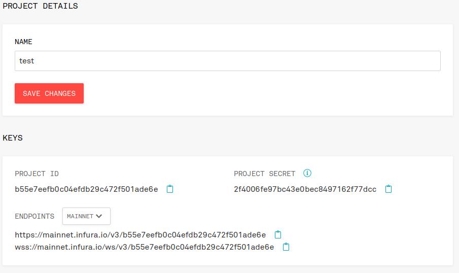 infura ropsten key project ID